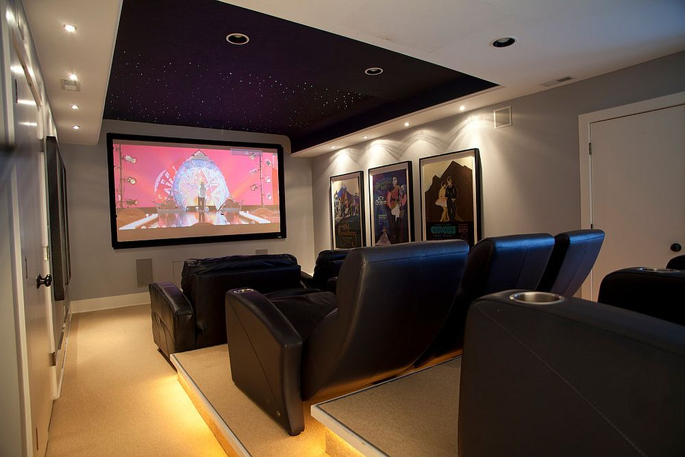 Modern beach style home theater with a cool ceiling that brings in the stars! [Design: Ellisdesigns]