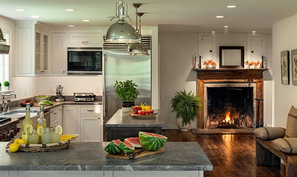 Charmant ... Modern Farmhouse Kitchen With Fireplace In The Kitchen [Design: Crisp  Architects]