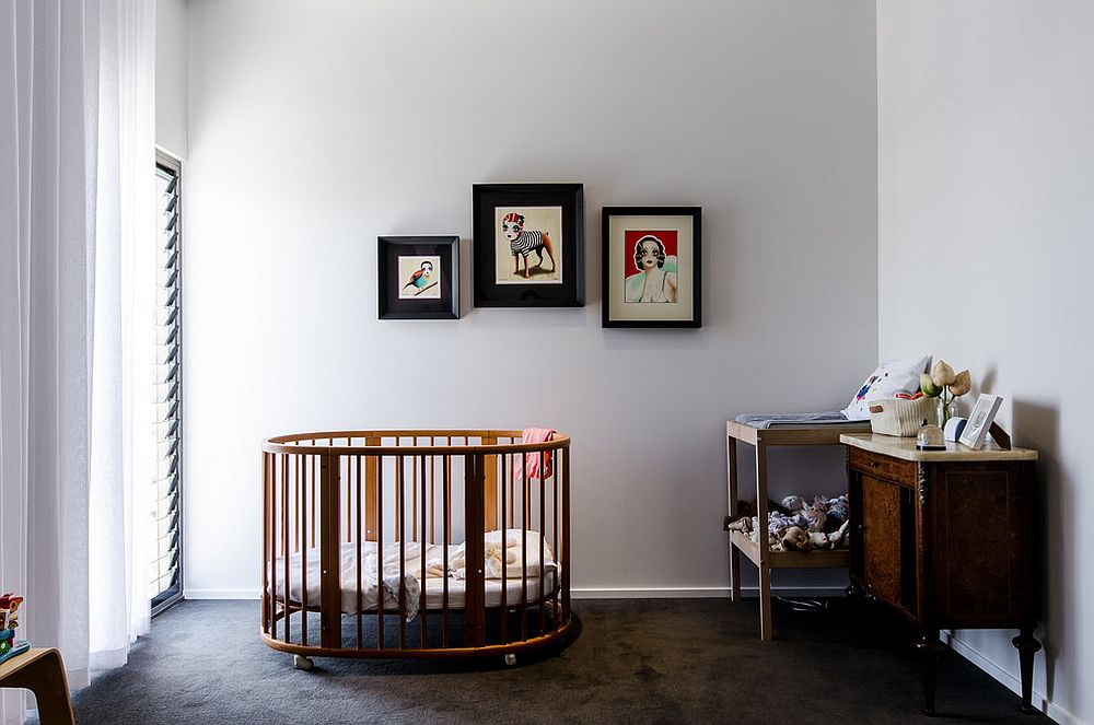 Modern industrial nursery in white and steely gray [Design: Klopper and Davis Architects / Photography: Jody D'arcy]