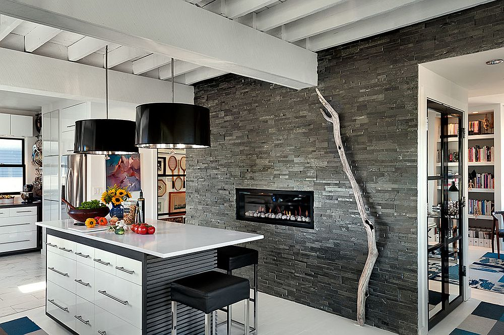 View In Gallery Modern Rustic Kitchen With Fireplace And Striking Pendant  Lights [From: Patty Kennedy Interiors /