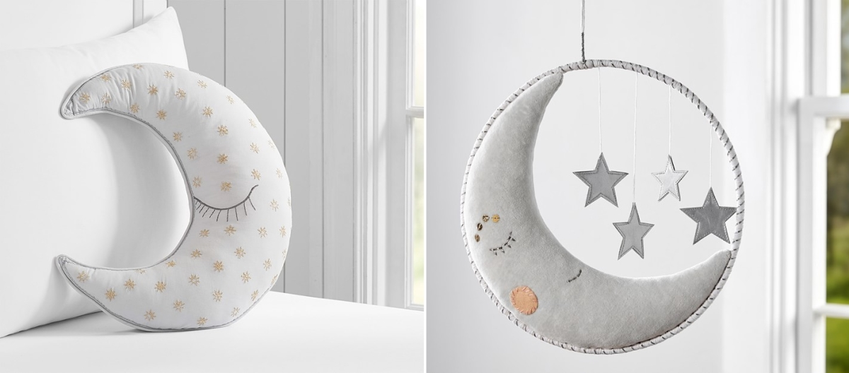 Moon pillow and mobile from Pottery Barn Kids