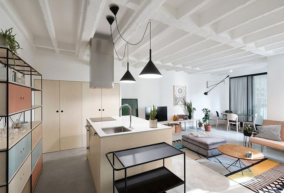 Open living area and kitchen of the modern apartment in Belgrade