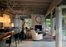 Open living area with kitchen and dining inspired by simple cabin lifestyle