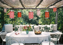 Patio with paper lanterns (photo via Lonny)