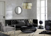 Pendant lighting and tufted seating from CB2
