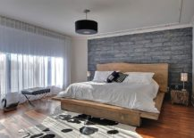 Platform bed with live-edge headboard in contemporary setting