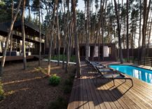 Pool-area-and-deck-next-to-the-modern-chalet-surrounded-by-tall-pine-trees-217x155