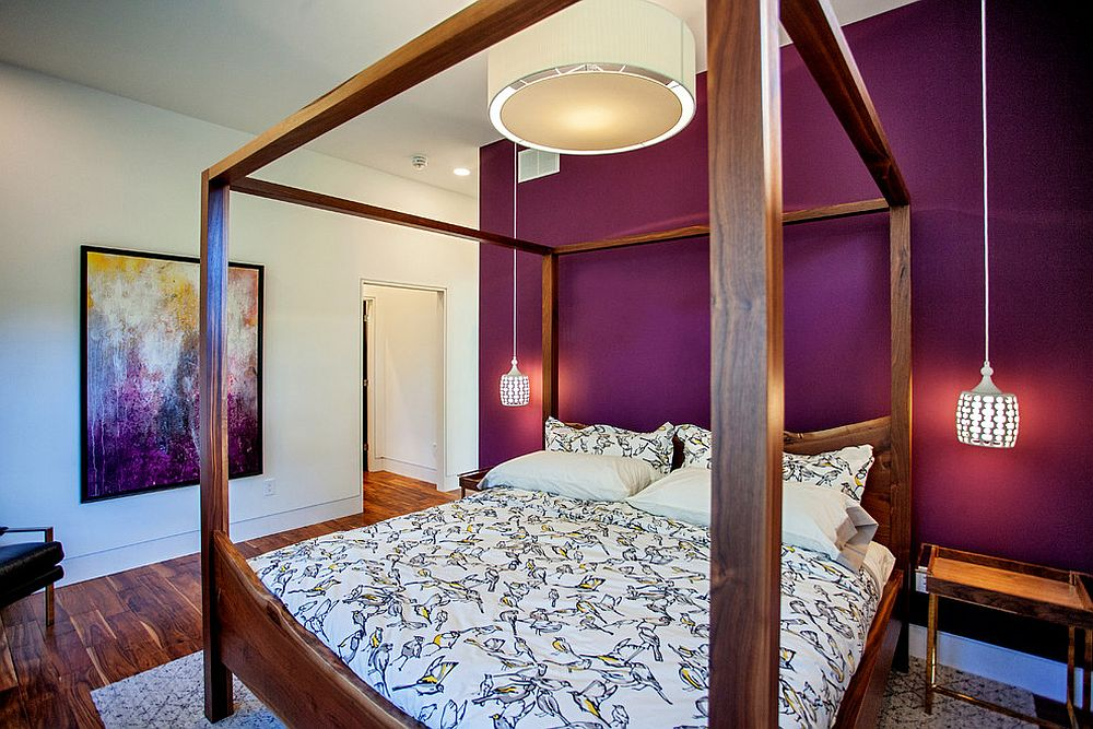Purple gives the modern bedroom brightness and an air of sophistication [Design: Madison Taylor]