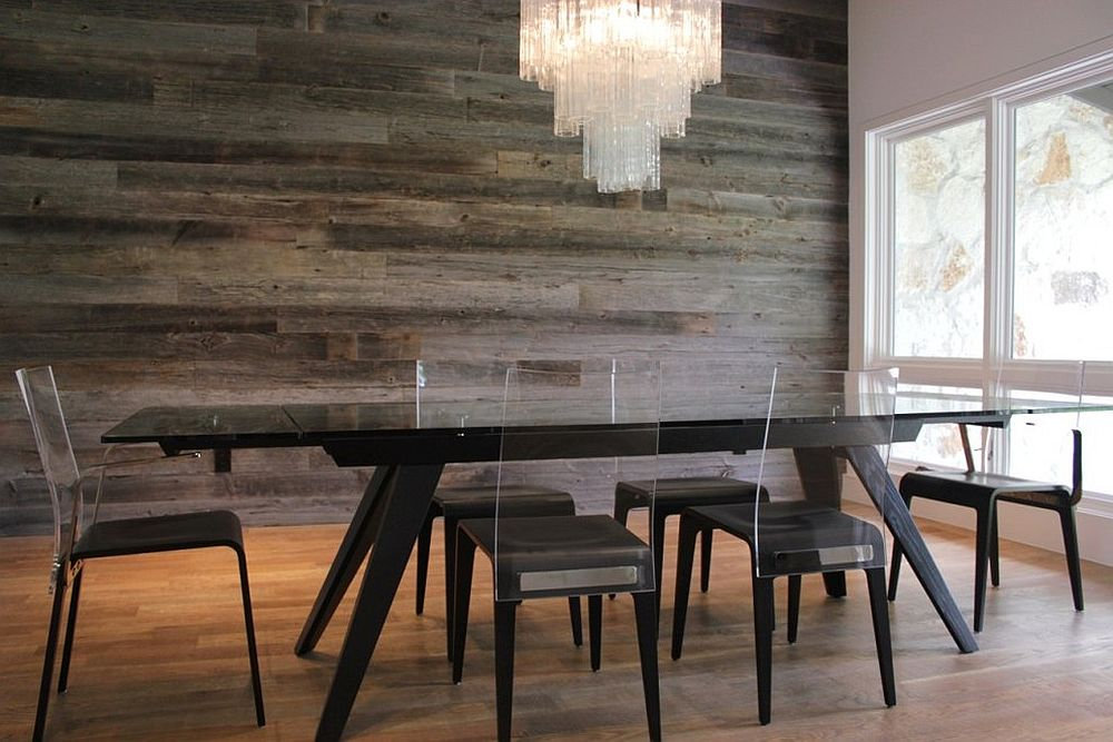 Reclaimed barn wood accent wall in the contemporary dining room [From: Urban Woods Company / Tracey Bechtol Photography]