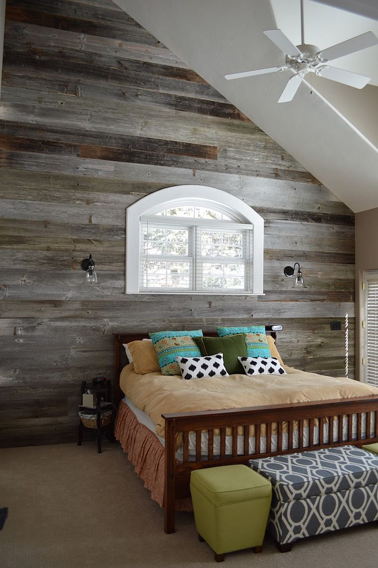 Reclaimed wood brings traditional barn charm to the contemporary bedroom [Design: Creative Floors / Photography by Melissa Ann Barrett]