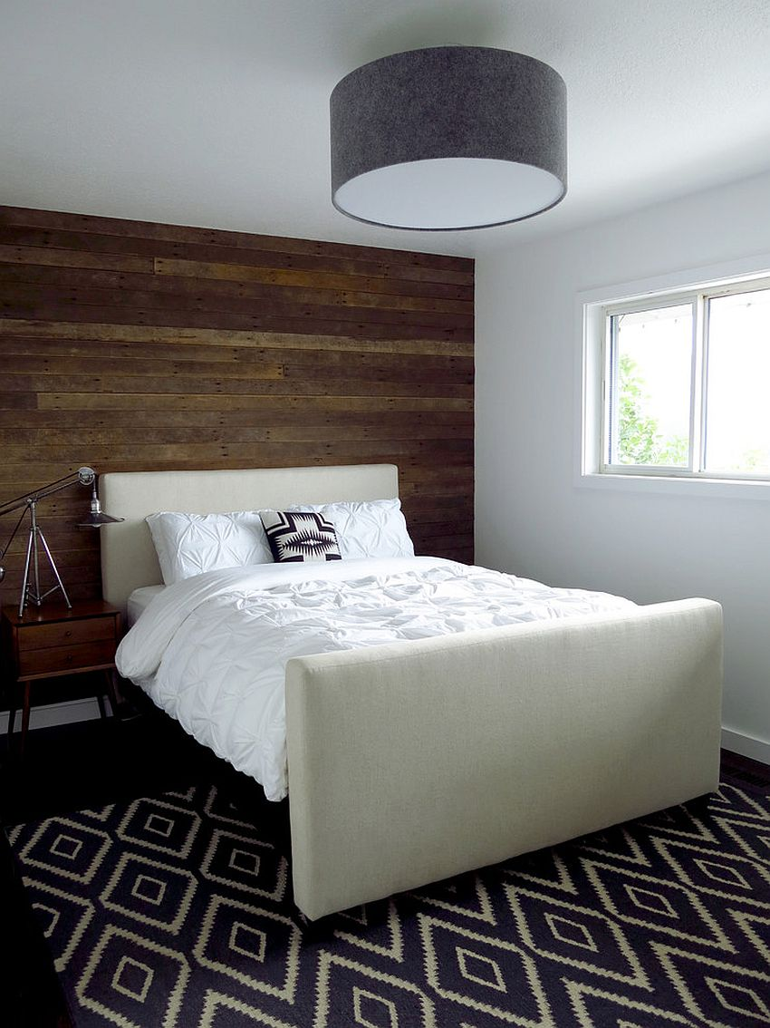Reclaimed wood wall feature for the contemporary bedroom [Design: Aurora Mills Architectural Salvage]