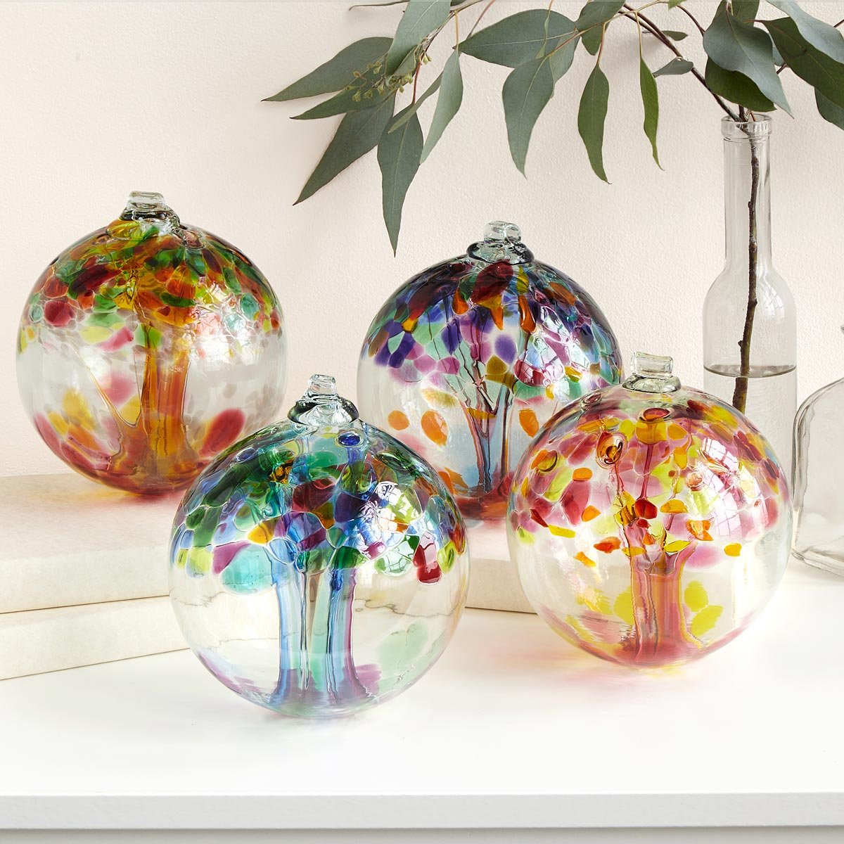 Recycled glass globes make a holiday statement