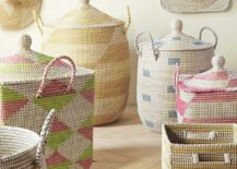 Recycled plastic and seagrass bins from Serena & Lily