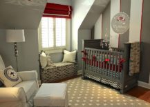 Red, white and gray stripes in the industrial bedroom