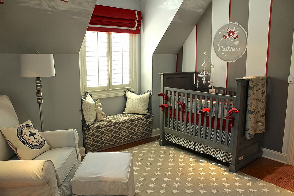 Red, white and gray stripes in the industrial bedroom [Design: Steffanie Danby Interiors]