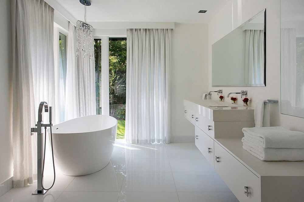 Refined, all-white contemporary bathroom design