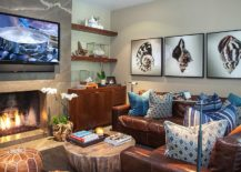 Refined-beach-style-home-theater-with-fireplace-and-striking-wall-art-217x155