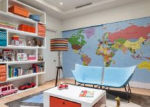 Refined modern playroom with a map on the wall, skylight and spacious shelf