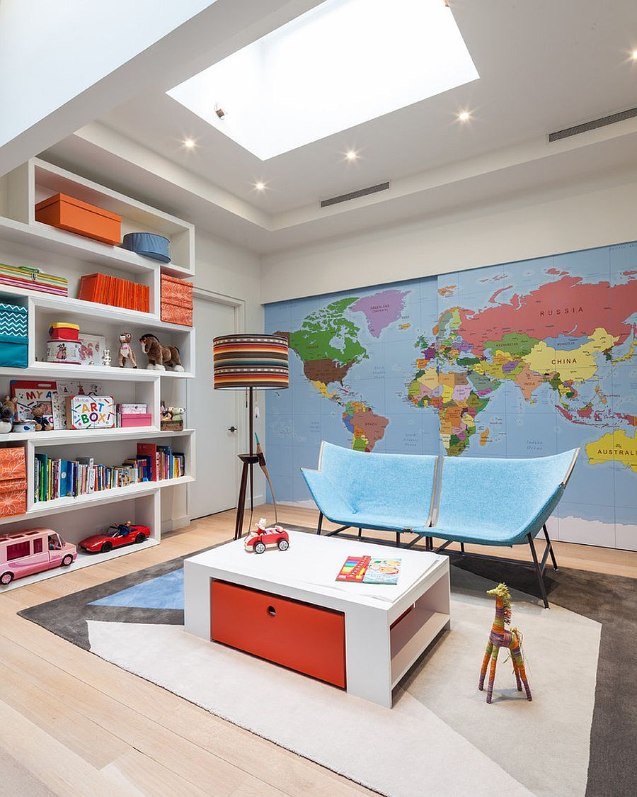Refined modern playroom with a map on the wall, skylight and spacious shelf [Design: Kati Curtis Design]