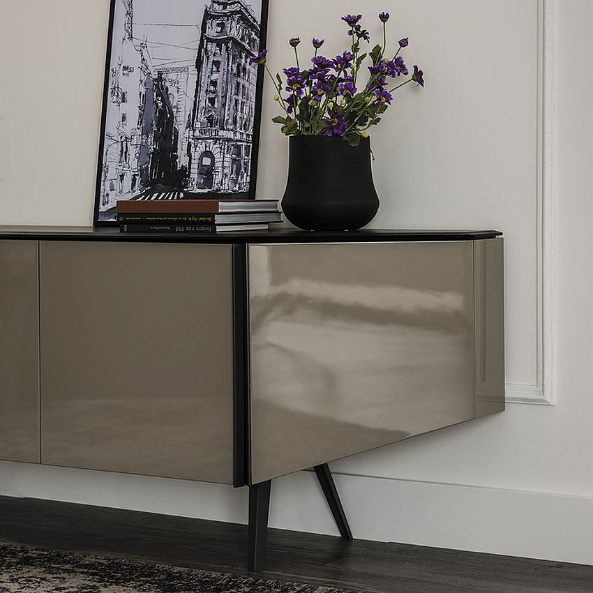 Refined modern sideboard with four doors and polished finish
