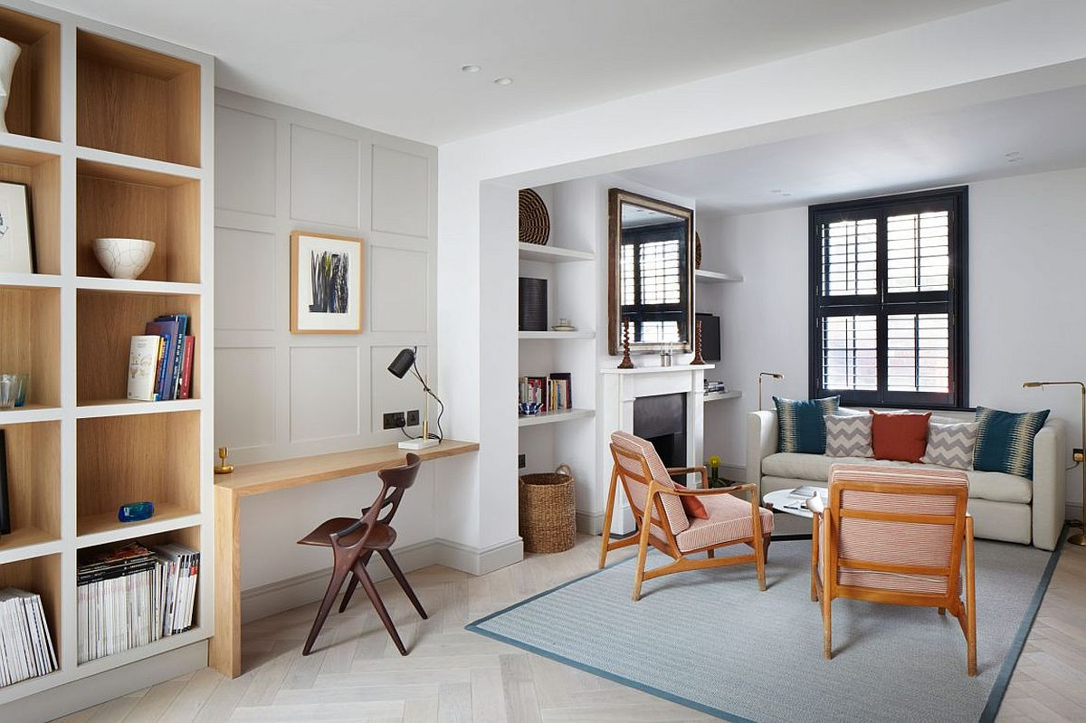 Refurbished classic decor and modern color scheme create a smart and charming interior