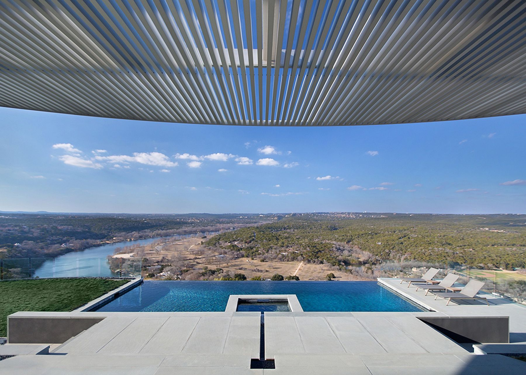 Renovated Austin home offers a view of Lake Austin and the rolling hills