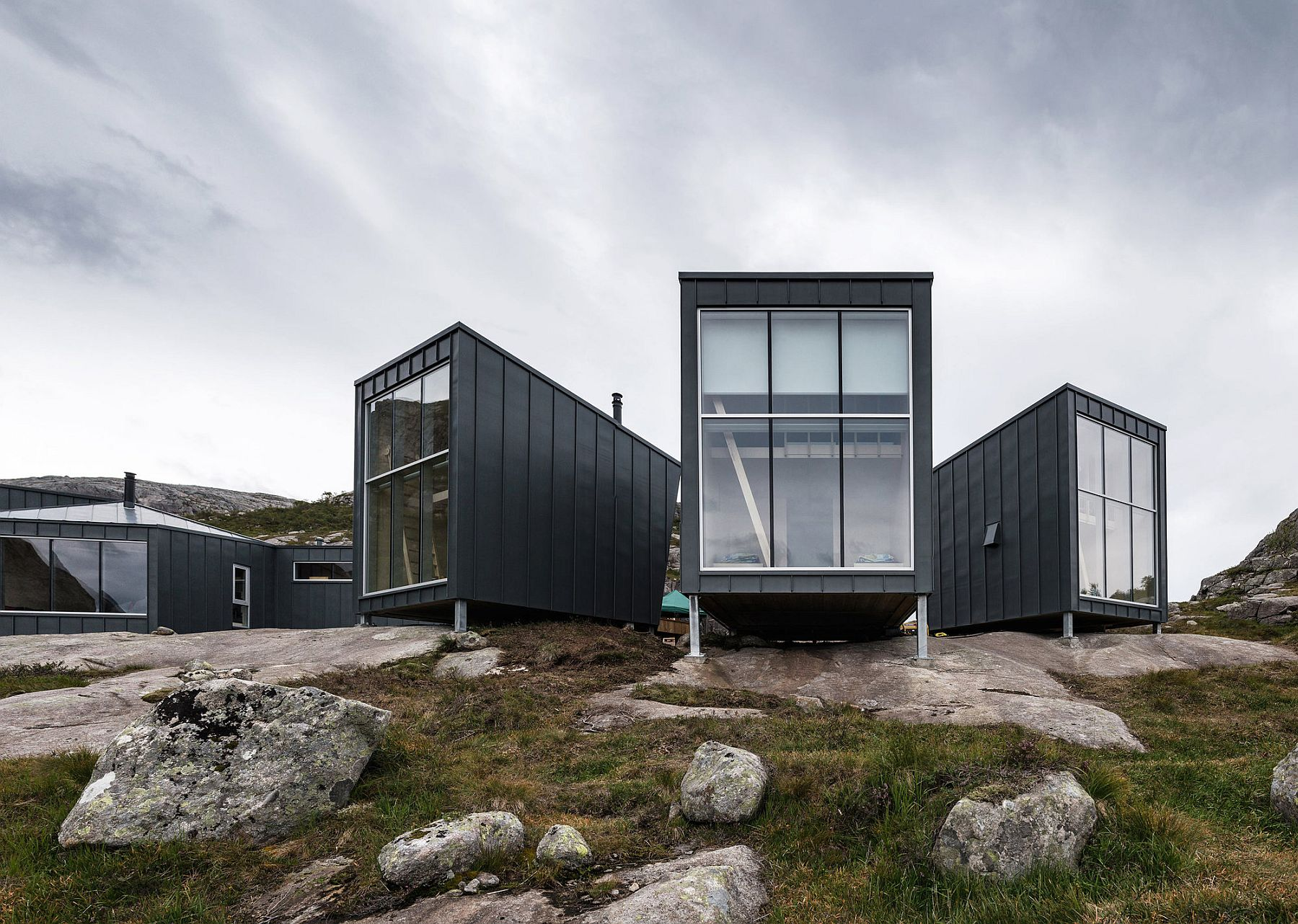 Rolled zinc provides durable and dramatic exterior surface for the cabins