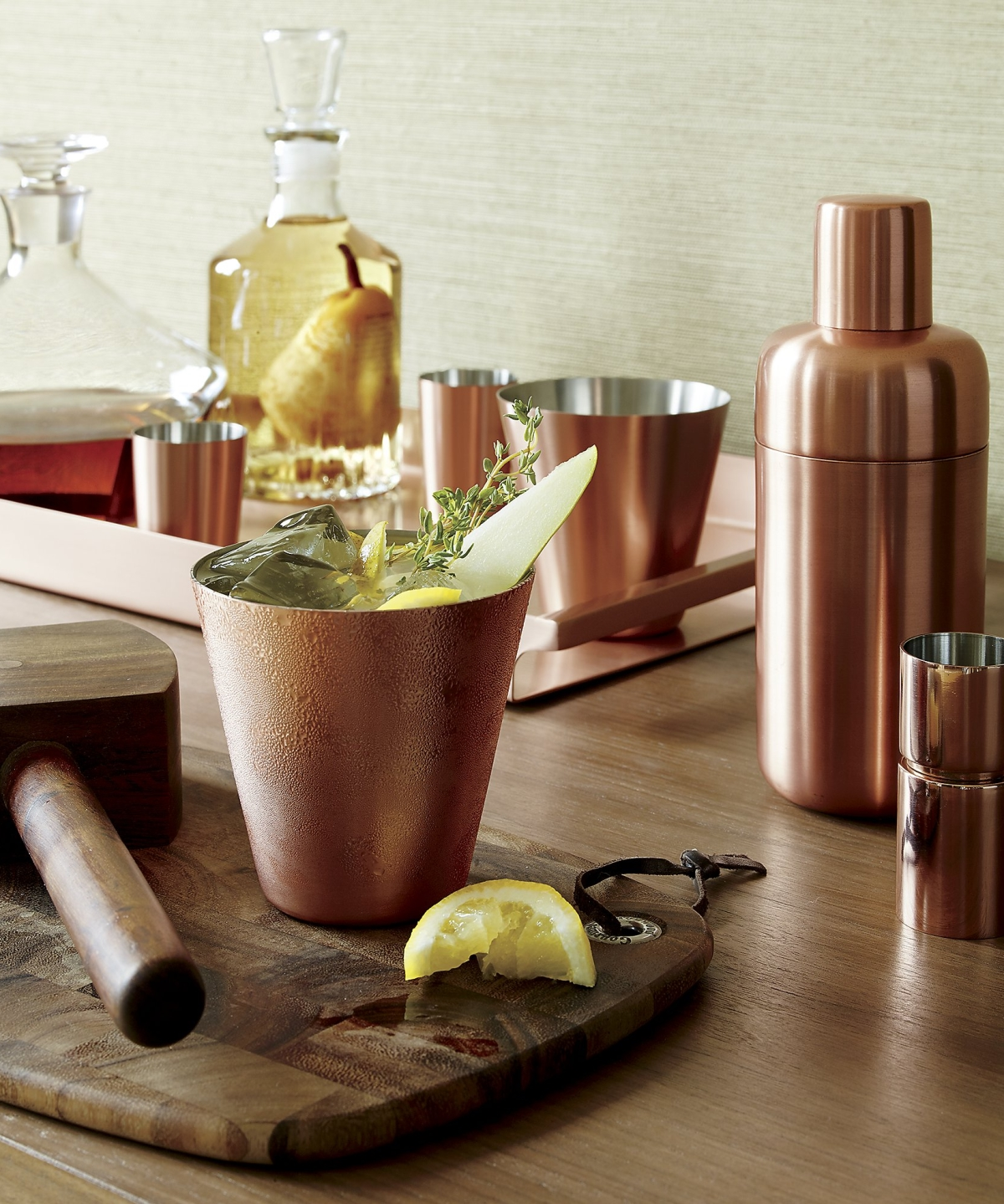 Copper barware from Crate & Barrel