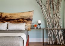 Rustic bedroom elements adapted to fit into a contemporary setting
