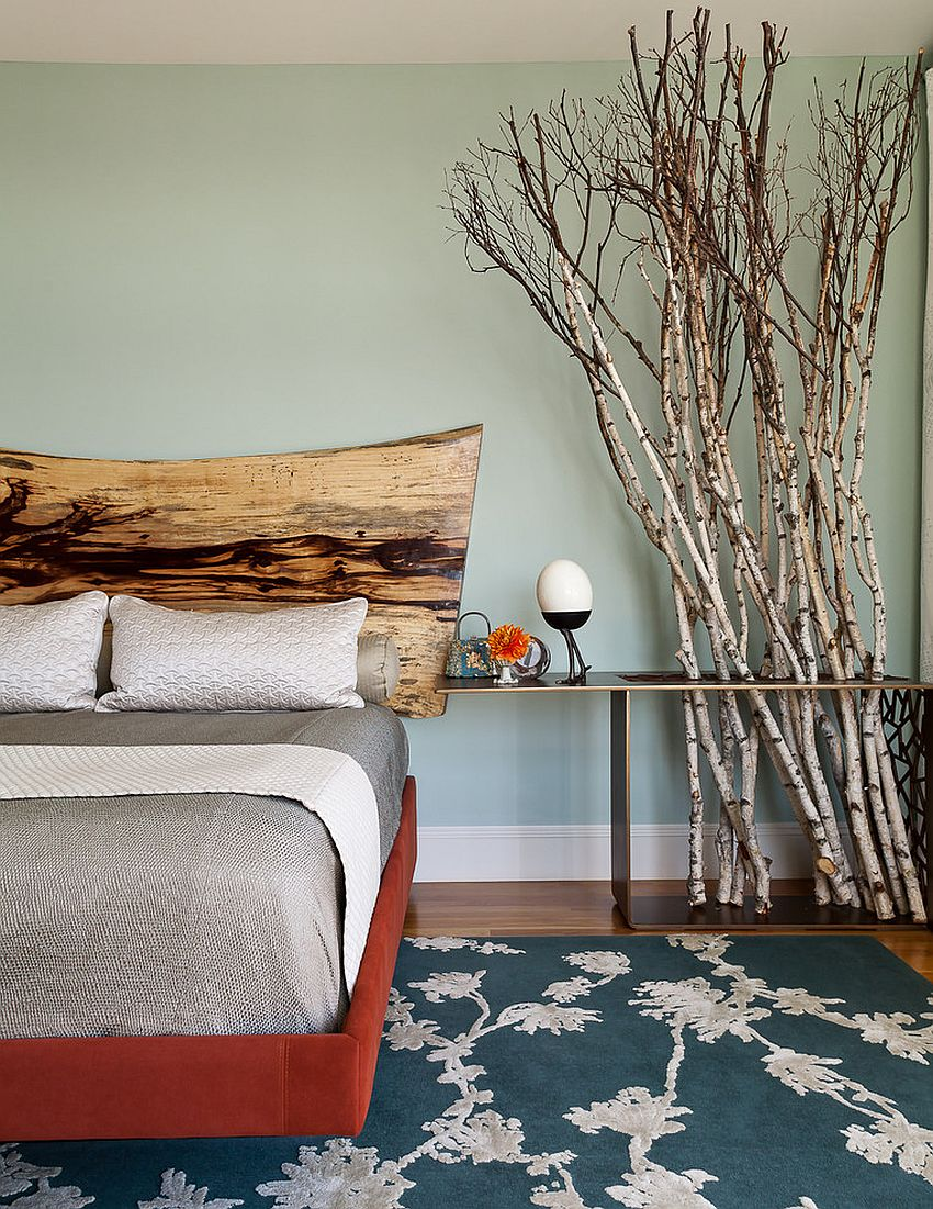 Rustic bedroom elements adapted to fit into a contemporary setting [From: Christopher Stark Photography]