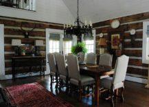Rustic dining room clad in reclaimed oak