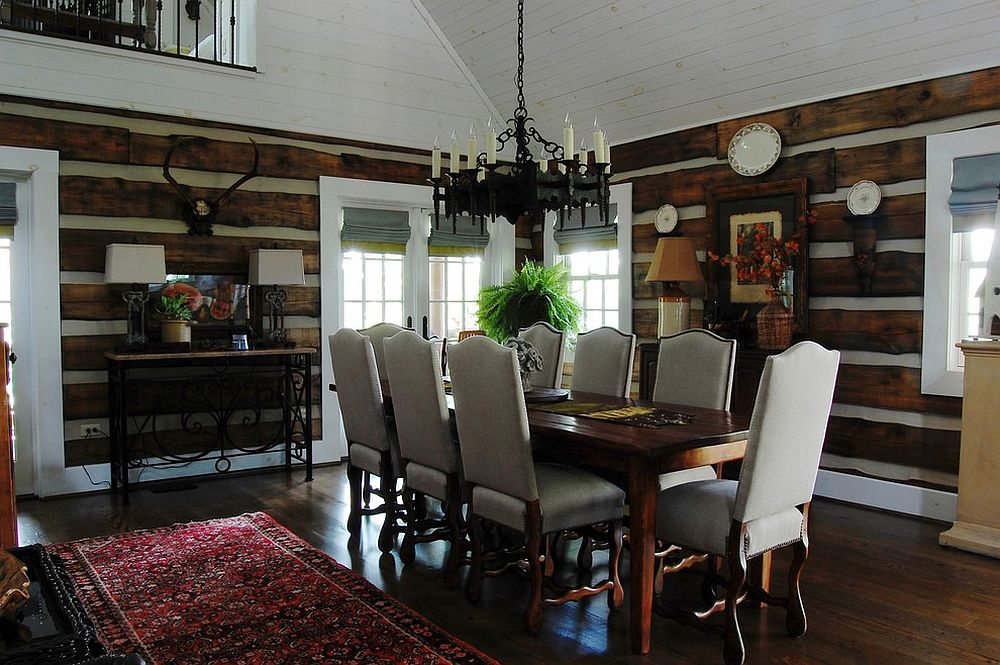 Rustic dining room clad in reclaimed oak [From: Corynne Pless]