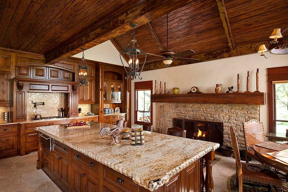 Attractive Kitchen Fireplace Design Ideas Part - 14: ... Rustic Kitchen With Classic Stone Fireplace [Design: USI Design U0026  Remodeling]
