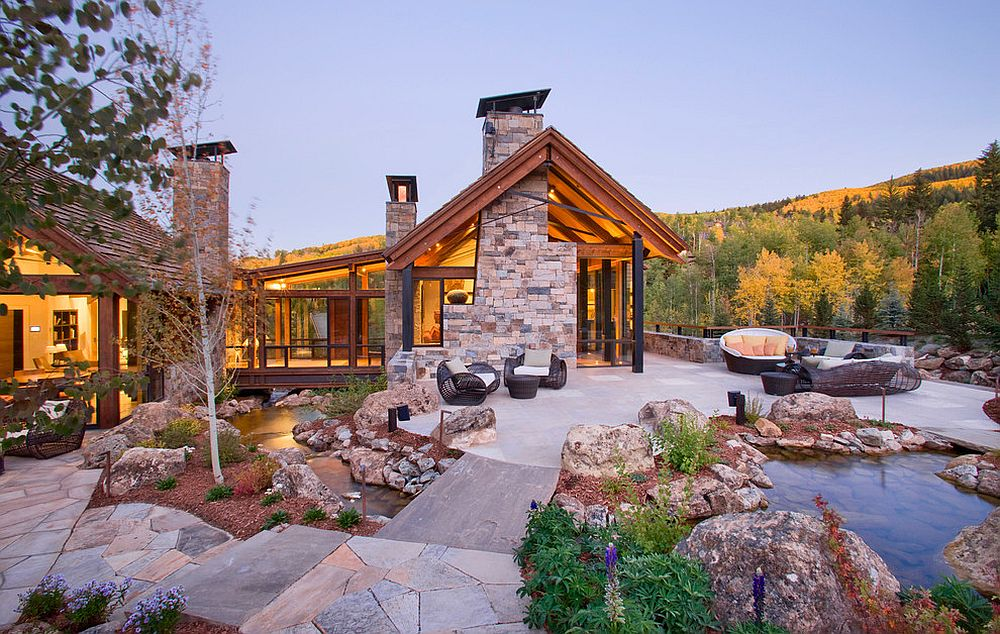 20 stunning outdoor hangouts and decks with a forest view for Exterior natural stone for houses