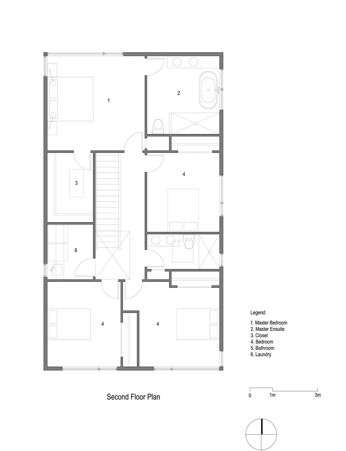Second level floor plan of the Vancouver home with master suite, laundry and additional bedrooms