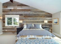 Vivacious Reclaimed Wood Accent Wall For The Industrial Bedroom [Design:  Jen Chu Design]