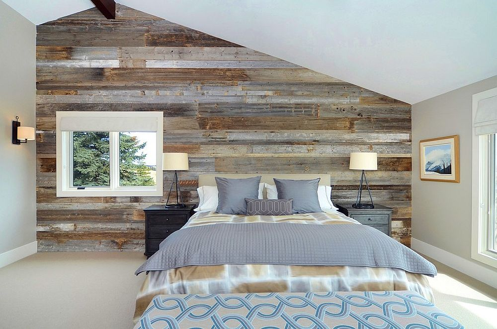 Serene and stylish contemporary bedroom with a wood accent wall [Design: Bruce Johnson & Associates Interior Design]