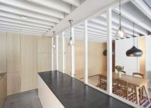 Series of wooden cabinets and furniture give the interior a sense of visual continuity
