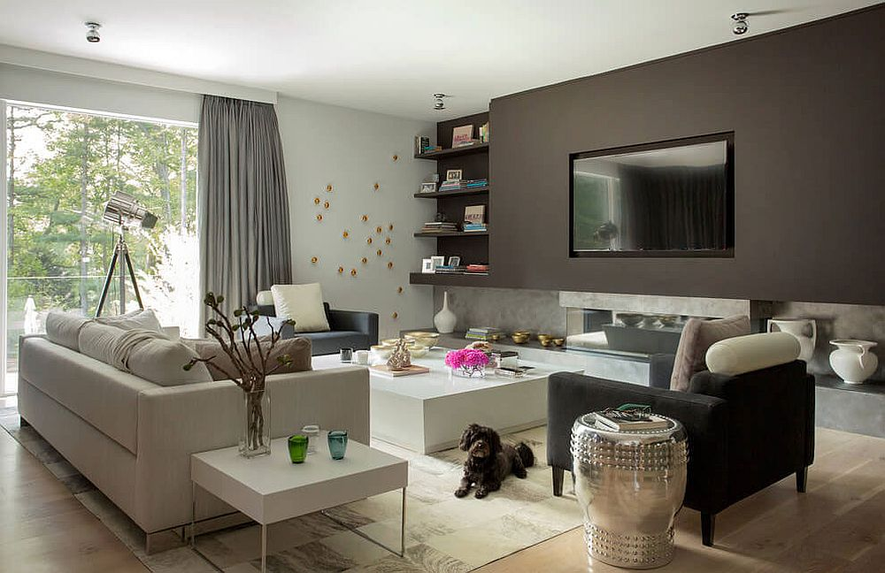 Shades of gray and white fashion a fabulous media room