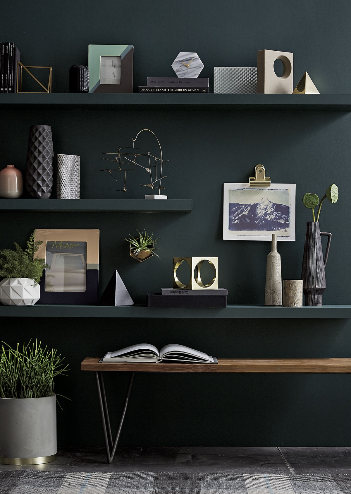 Shelving and grey-green walls designed by CB2