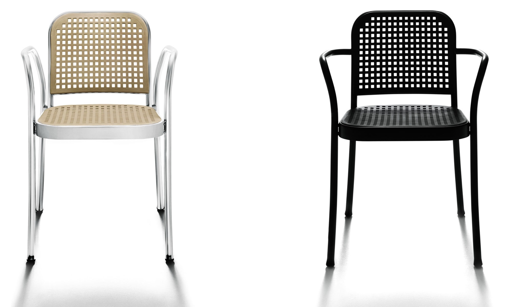 Silver chairs with armrests