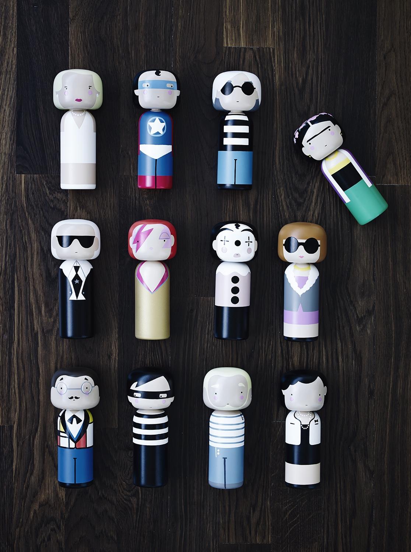 Kokeshi dolls.