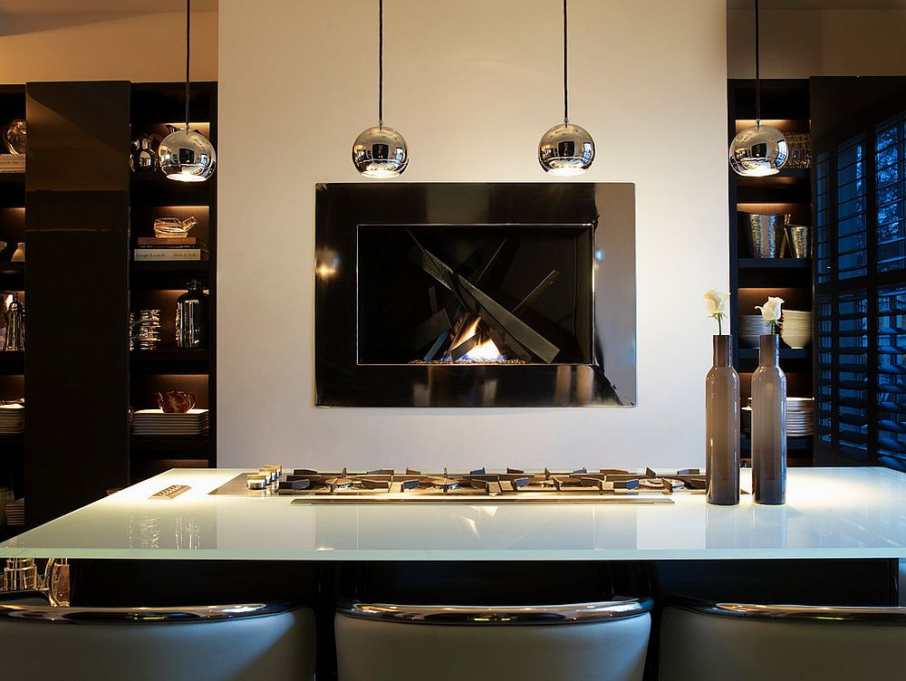 Kitchen Fireplace Design Ideas Part - 34: View In Gallery Sleek And Stunning Fireplace Becomes The Focal Point Of  This Awesome Contemporary Kitchen [Design:
