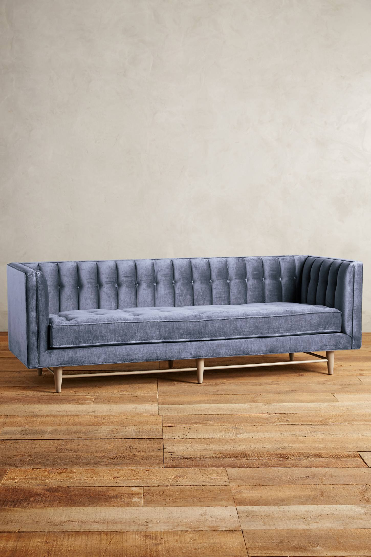 Slub Velvet Marryn Sofa in Sky