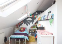 Small contemporary kids' room with twin skylights