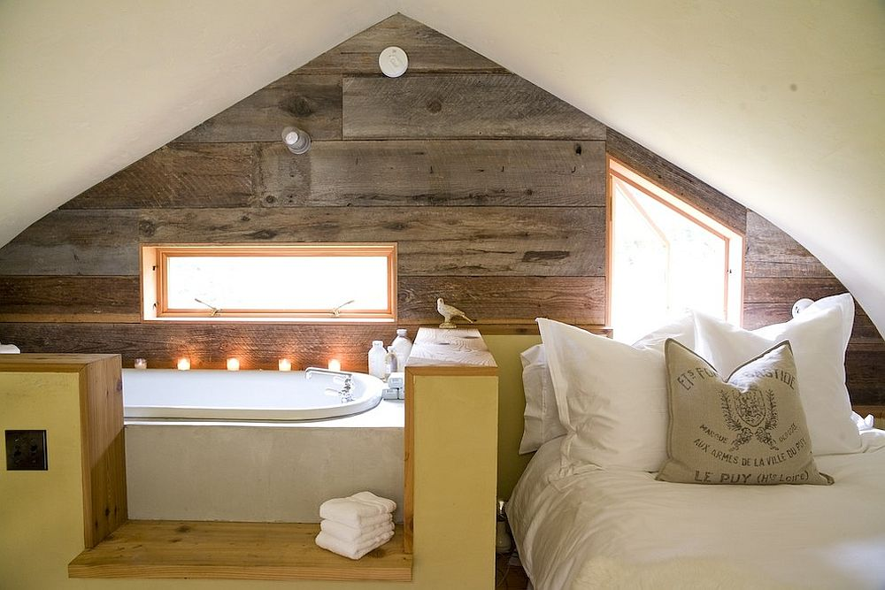 Small, space-savvy loft bedroom and bathroom [Design: SHED Architecture & Design]