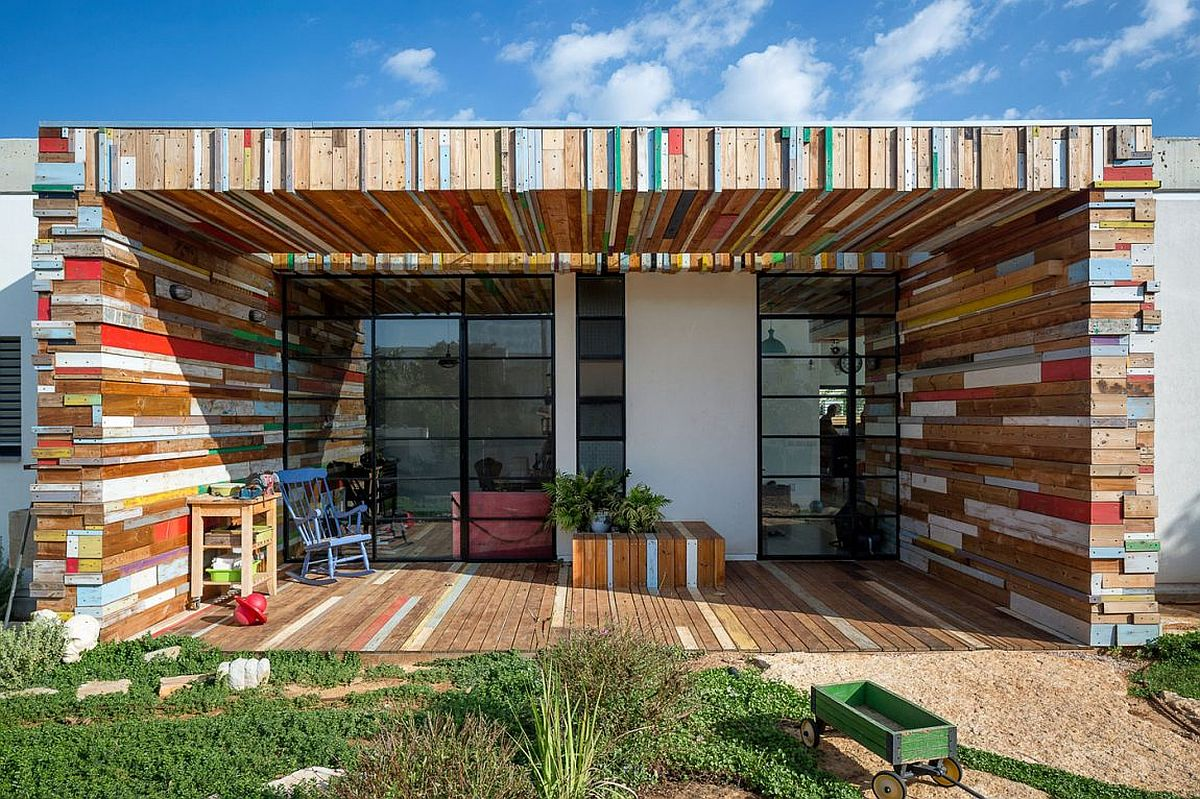 Smart home in Israel with colorful reclaimed wood planks