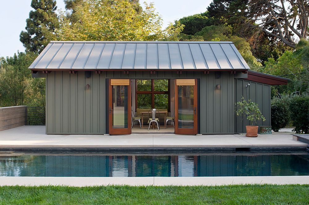 Smart modern pool house in steely gray