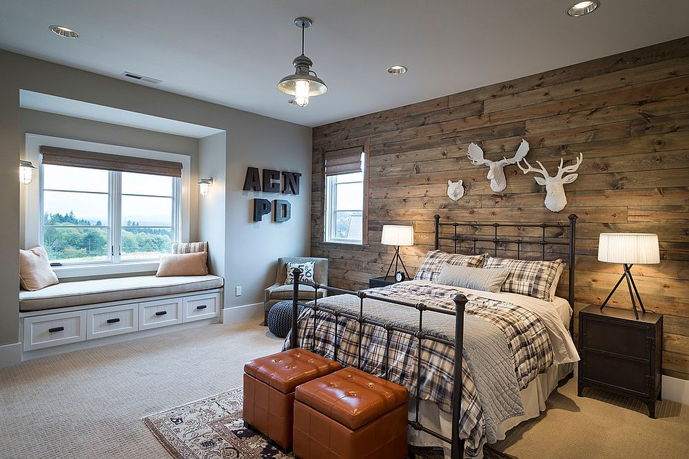 Smart reclaimed wood wall brings a hint of cabin style to the modern bedroom [Design: Alan Mascord Design Associates / Photo: Bob Greenspan]