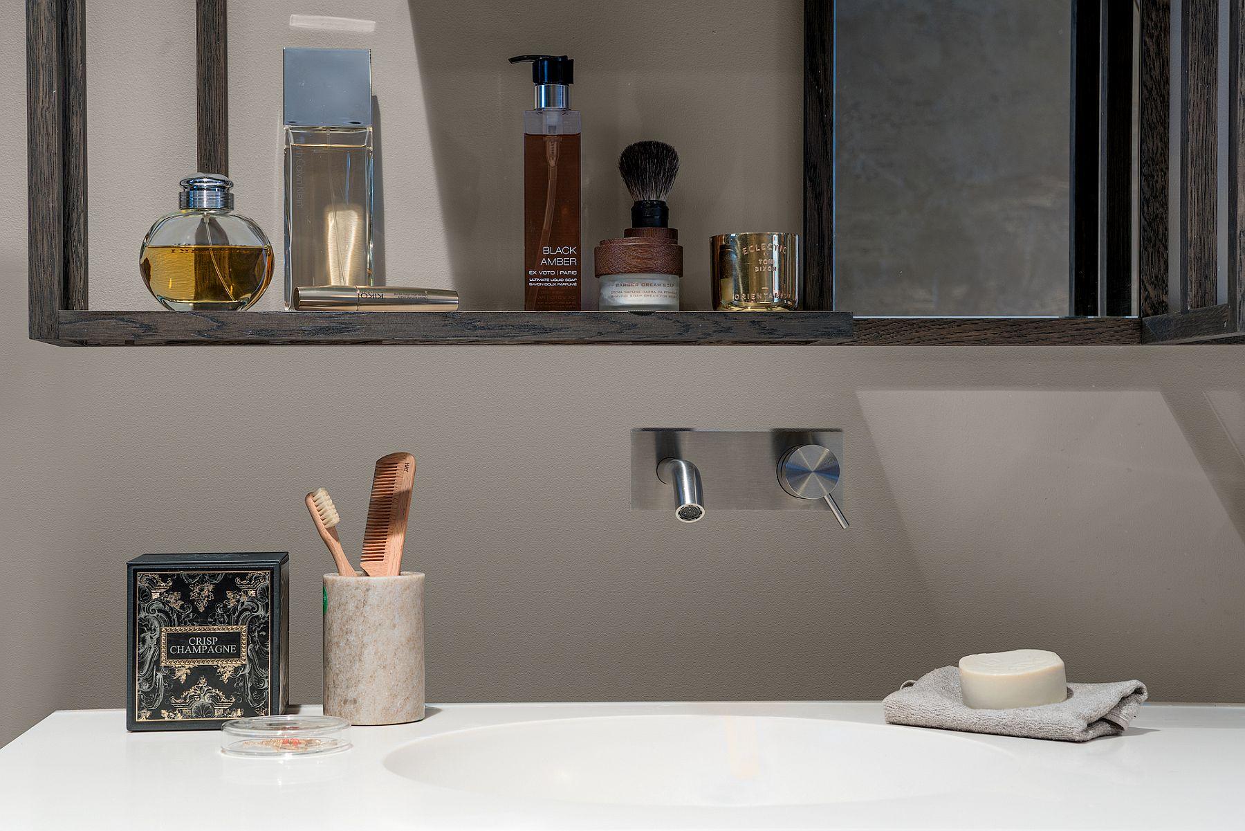 Solid wood medicine cabinet in the bathroom designed by Robert Kolenik